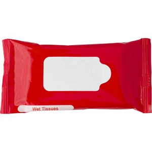 Bag with 10 wet tissues., red (6080-08)