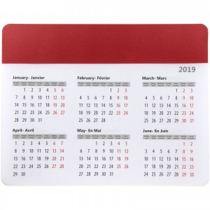 Chart mouse pad with calendar, Red (Mousepad with calculator)
