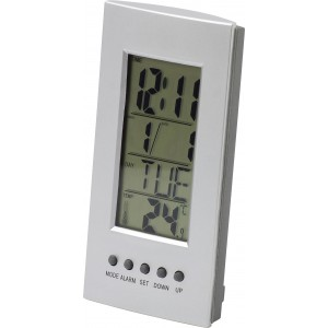 Desk clock with thermometer, silver (4418-32)