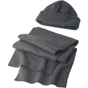 Fleece cap and scarf, grey (1745-03)