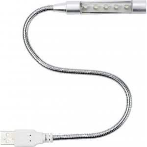 Flexible computer light with USB connector., silver (3620-32)