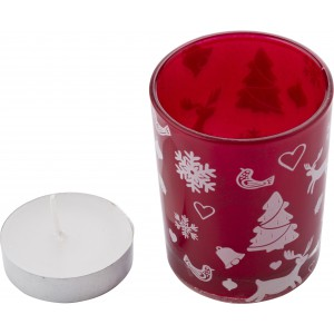Glass candle holder with Christmas decorations, red (5039-08)