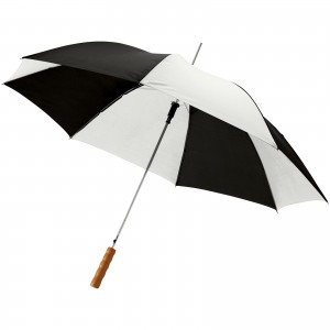 Lisa 23 auto open umbrella with wooden handle, Shiny black,White (10901710)