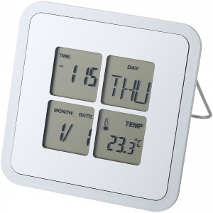 Livorno desk clock with temperature, Silver (11507100)