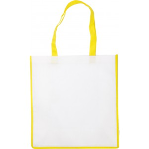 Nonwoven bag with coloured trim., Yellow (3610-06)