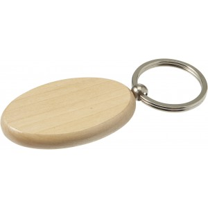 Oval wooden key holder with metal ring, Brown (Keychains)