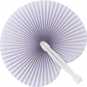 Paper hand held fan with plastic handle, white (9001-02)