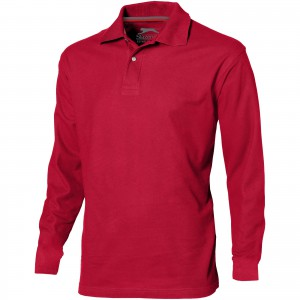 Point long sleeve men's polo, Red (3310625)