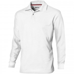 Point long sleeve men's polo, White (3310601)