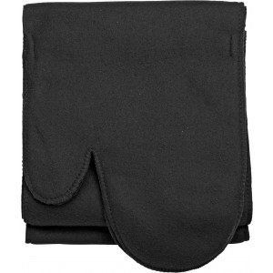 Polar fleece scarf with glove, Black (1798-01)